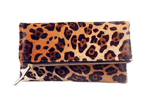 Jaguar Animal Print Haircalf Fold over Cross-body Clutch, Women's Handbag