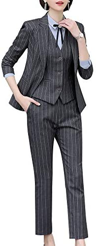 Women S Three Pieces Office Lady Stripe Blazer Business Suit Set Women Suits Work Skirt Pant Vest Jacket Grey Amazon Com Au Fashion