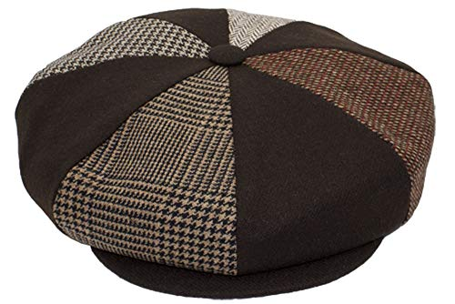 Patch Combo Wool Applejack Newsboy Cap Made in USA (BrownPatch) (Apple Jack Caps)