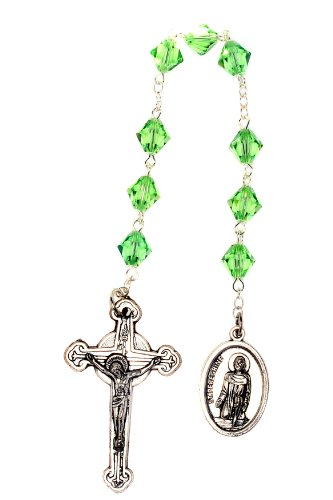 (St. Peregrine Chaplet made with Peridot Green Swarovski Crystal - Cancer Patients Patron Saint (August))
