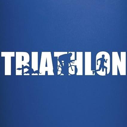 Royalblau Spreadshirt Triathlon Schwimmer Radfahrer L/äufer Umrisse Tasse einfarbig
