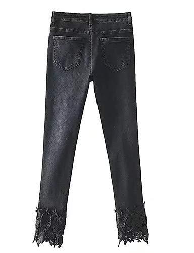 Vita Basic Yfltz Donna Black Unita Slim E Pantaloni In Molla Cotone Tinta Da A Alta Zw01ZYq