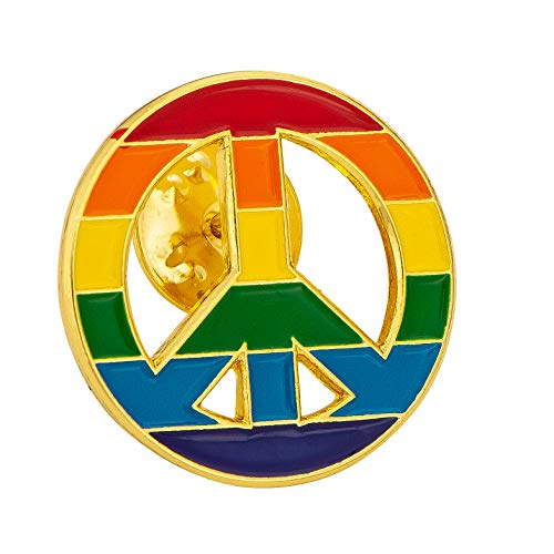 Gay Flag Inside Peace Sign LGTB Lapel Pin Enamel Made of Metal Souvenir Hat Men Women Patriotic (Gay Inside Peace Sign - Flag Sign Peace Buttons