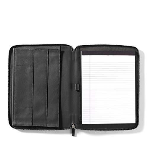 Leatherology Executive Zippered Portfolio with Interior iPad Pocket - Full Grain Leather - Black Onyx (black)