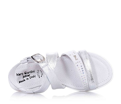 antérieure argentée Sandale NERO Fille logo gris en Filles suède et avec bande la boucle sur GIARDINI cuir q4qtw6T
