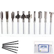 """SPTA 10Pcs HSS Router Carbide Engraving Bits & 5Pcs Drill Bit-1/8""""(3mm) Shank For Proxxon Dremel Rotary Tools for DIY Woodworking, Carving, Engraving, Drilling"""
