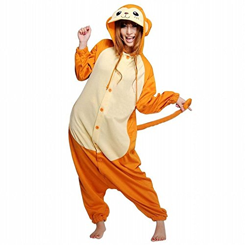 ABING Halloween Pajamas Homewear OnePiece Onesie Cosplay Costumes Kigurumi Animal Outfit Loungewear,Yellow Monkey Adult XL -for Height (Couples Cosplay Costumes)