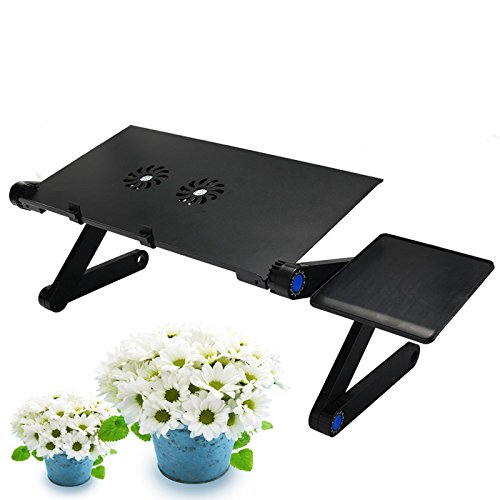 Raking Laptop Table/Desk/Stand Portable Folding Table-in Bed,Sofa,Carpet Tray Book Stand with CPU FAN Cooling Pad,Notebook Macbook Ergonomic TV Bed Lap Tray Stand Up Sitting(Black) by Raking (Image #4)