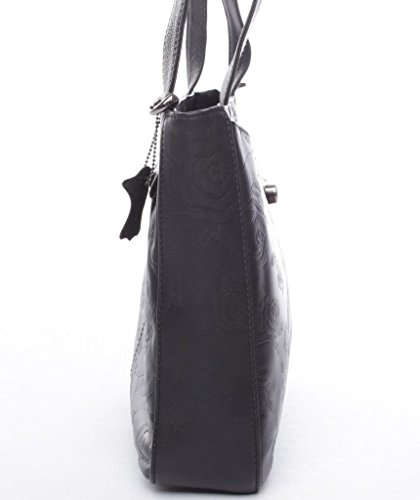 JOSYBAG cuir noir-bROADWAY-rOSE- rosenprägung shopper cuir