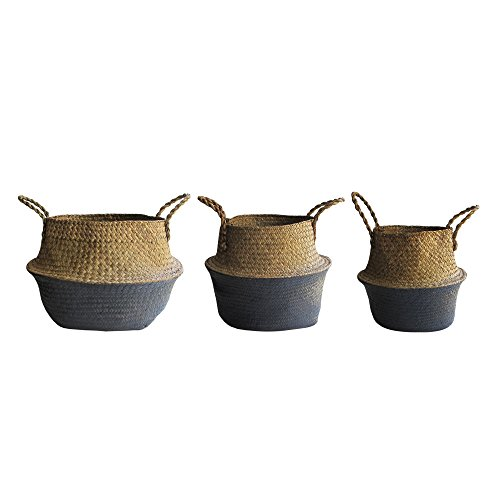 Set of 3 Seagrass Woven Baskets with Handles, (Natural Woven Baskets)