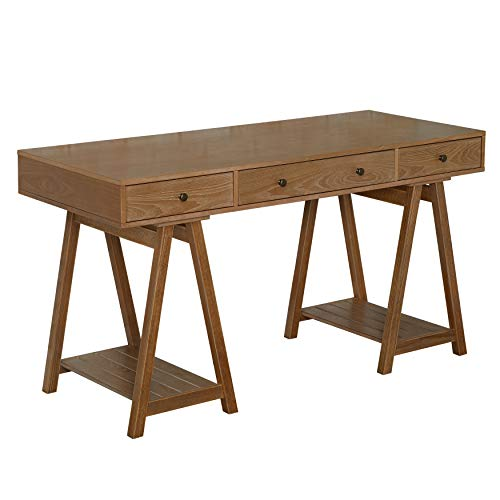 The Mezzanine Shoppe 53607NAT Emporia Modern Rustic Home Office 3 Drawer Task Desk, 55