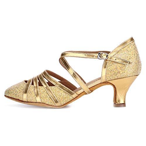 DKZSYIM Women's Gold Fashion Ballroom Party Glitter