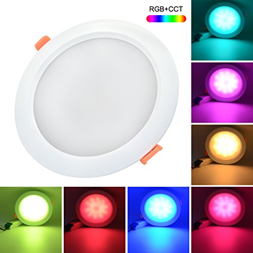 Mi Light Dimmable LED Flush Mount Ceiling Light 2.4G RGB+CCT 15W 1200lm IP54 Waterproof Hole 175-180mm DownLights DC 19.5V Round Reccessed Light For Bathroom (need remote/wifi ibox to control) (Stainless Panel Control Recessed Steel)