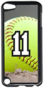 Softball Sports Fan Player Number 11 Black Plastic Decorative iPod iTouch 5th Generation Case