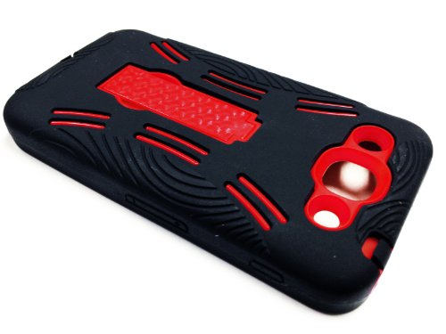 For LG Optimus G Pro E980 Kickstand Hybrid Hard Phone Cover Case - Black / Red + Happy Face Phone Dust Plug