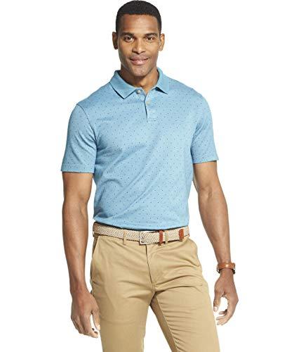 (Van Heusen Men's Flex Short Sleeve Stretch Print Polo Shirt, Storm Blue, X-Large)