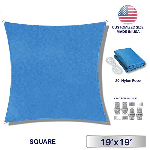 Windscreen4less 19 x 19 Square Sun Shade Sail – Solid Blue Durable UV Shelter Canopy for Patio Outdoor Backyard 4 Pad Eyes Included – Custom Size