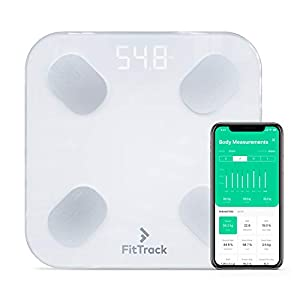 FitTrack Dara Smart BMI Digital Scale – Measure Weight and Body Fat – Most Accurate Bluetooth Glass Bathroom Scale 410LPplw5EL