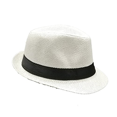 List A Banded Straw Fedora Hat for Kids Trilby Gangster Panama Classic Vintage Short Brim Style (White) -