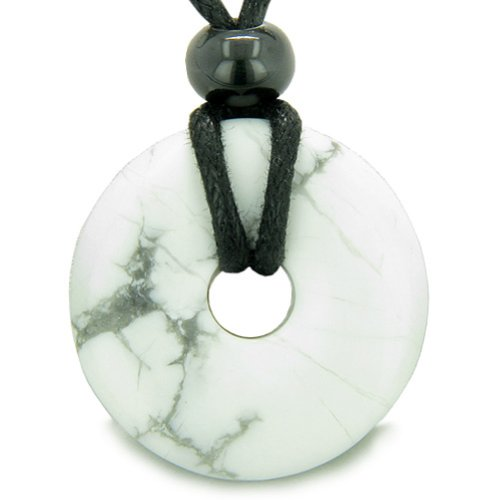 (Amulet Lucky Magic Donut White Howlite Crystals Aura Healing Powers Pendant Necklace)