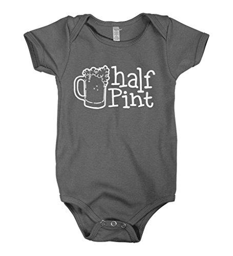 Mixtbrand Baby Boys' Half Pint Infant Bodysuit 6M Charcoal (Boy Stein)
