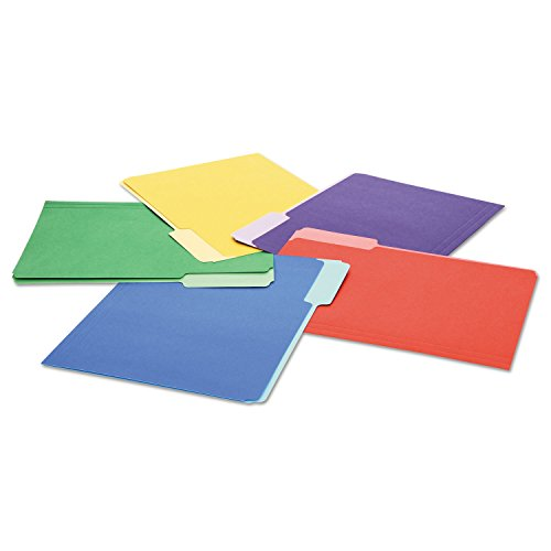 UNIVERSAL OFFICE PRODUCTS 10506 Colored File Folders, 1/3 Cut Single-Ply Top Tab, Letter, Assorted, 100/Box