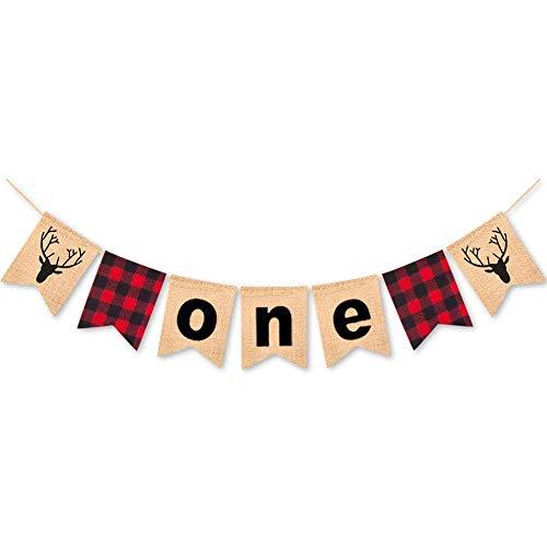 Buffalo Banner (Rainlemon Lumberjack Theme Boy Girl 1st Birthday Party Banner Buffalo Check Plaid One High Chair Bunting Garland)