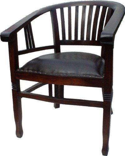 Guru-Shop Teakholzsessel mit Ledersitz, 80x60x60 cm, Sitzmöbel
