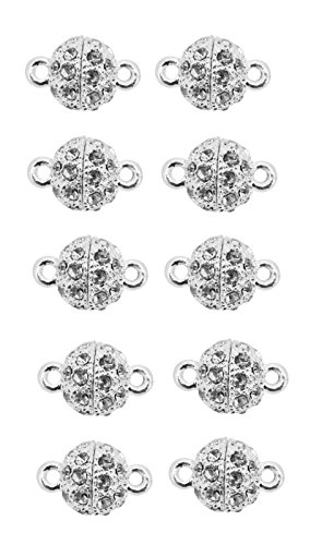 Mandala Crafts Bling Pave Bead Magnetic Necklace Bracelet Jewelry Clasps,8mm, Lot of 10 (Silver) Wholesale Rhinestone Necklaces