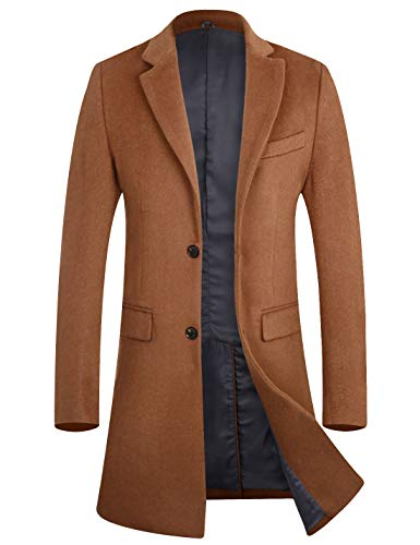 Cashmere Walking Coat - APTRO Men's Winter Quality Wool Trench Coat Above Knee Overcoat 1702 Camel XXL