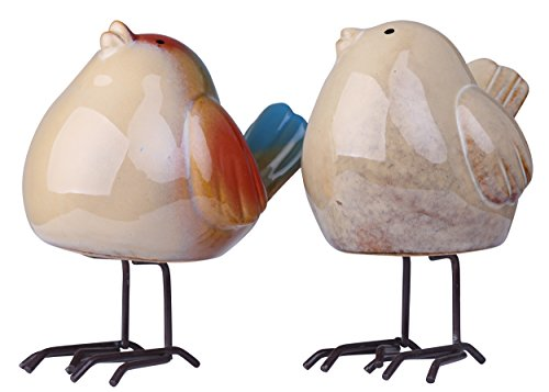 Animal Ceramic Statue (Greencherry Artificial Manmade Decorative Ceramic Bird Animal Shape Statue Cute Figurine Sculpture Couple Gift Pack of 2)