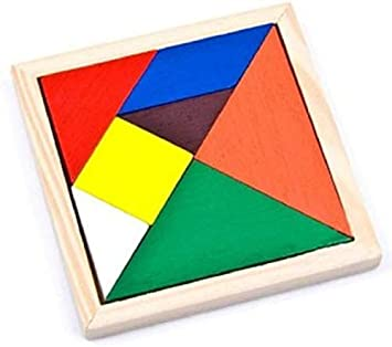 Universal 7 Piece Wooden Tangram Puzzle for Mind Development of Kids (Multicolour)