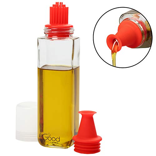 Olive Oil Bottle Dispenser- 16 oz Glass Cruet w Interchangeable No-Drip Spout and Silicone Brush