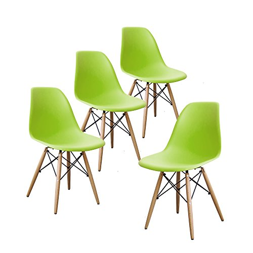 Buschman Set of Four Green Eames-Style Mid Century Modern Dining Room Wooden Legs Chairs - Mid Century Modern High Chair