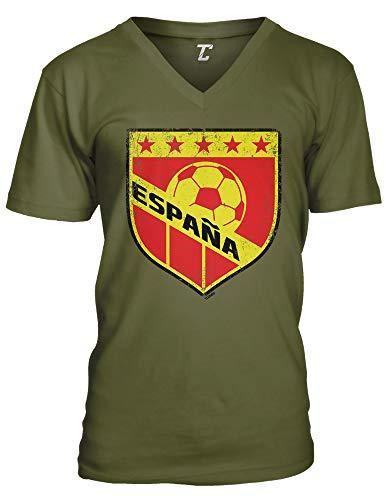 (España Crest - Soccer Futbol Sports Spain Unisex V-Neck T-Shirt (Olive, X-Large))