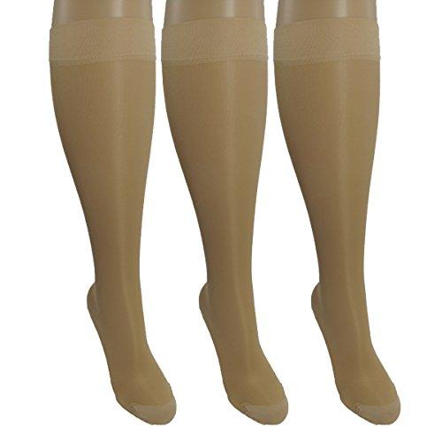 3 Pair Sheer Nude Small/Medium Ladies Compression Socks, Moderate/Medium Graduated Compression 15-20 mmHg. Therapeutic, Occupational, Travel & Flight Knee-High Hosiery.