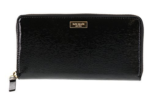 Kate Black Leather (Kate Spade New York Bixby Place Neda Patent Leather Zip Around Wallet (Black))