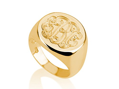 Monogram Ring - 18k Gold Plated Monogram Ring-initial Ring-name Ring (6.5)