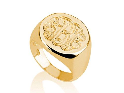 Monogram Ring - 18k Gold Plated Monogram Ring-initial Ring-name Ring (7) (Gold Initial Ring compare prices)
