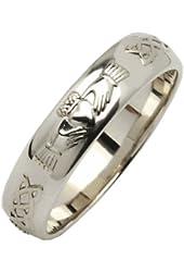 Mens Silver Beveled Rounded Claddagh Wedding Ring Irish Made