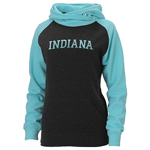 Ouray Sportswear NCAA Indiana Hoosiers Womens Posh Asym Redux Hood, Mediuim, Charcoal Heather/Surf Heather, Medium