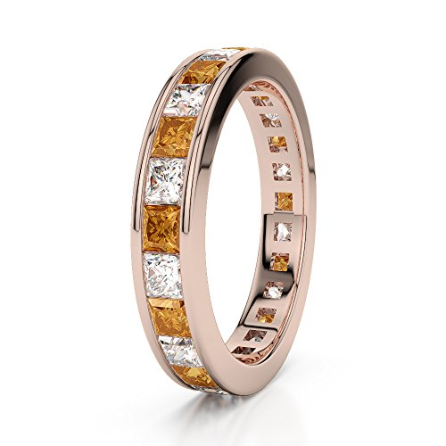 Or Rose 18 carats 1 CT G-H/VS Certifié Coupe Princesse Citrine et diamants éternité Bague Agdr-1134