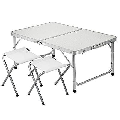Patiolife Folding Picnic Table with 2 Chairs Adjustable Height Camping Table Chairs Set 4 Person Portable Table and Chairs for Office Garden Outdoor : Garden & Outdoor