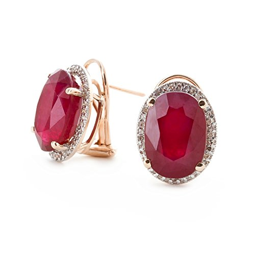 15.86 Carat 14K Solid White Rose Yellow Gold French Clip Earrings Halo Design Oval Cut Ruby and Diamond 5127 (rose-gold)