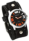 Nemesis #STH107KN Men's 3-D Raised Index Black Wide Leather Cuff Band Watch