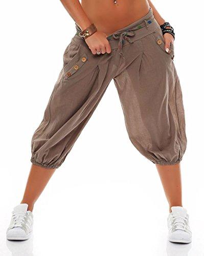 Taglia Sbuffo Breve Unica Cintura Pump Con Baggy Donna Yoga Fango Aladin 3416 Malito Pantaloni Boyfriend 7xUTRR