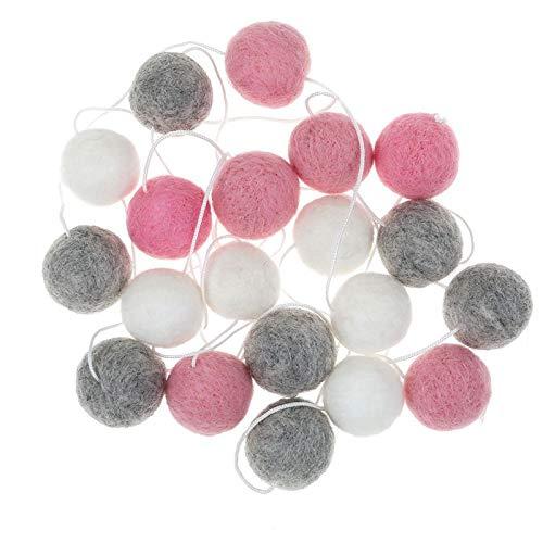 Mayitr Felt Wool Ball String Wall Hanging Pom Pom Garland Home Decorations 30mm Balls (White Gray Pink) ()