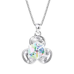 KesaPlan Clover Pendant Necklace Aurora Square Swarovski Crystal Necklace for Women, Platinum Plated Lucky Necklace…
