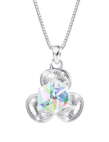 KesaPlan Clover Necklace for Women, Aurora Square Swarovski Crystal Necklace for Women, Pure Zinc Plated Platinum Lucky Necklace for Girls (Crystal Lucky Clover Necklace)