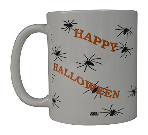 Rogue River Funny Coffee Mug Happy Halloween Spiders Novelty Cup Great Gift Idea Halloween (Spiders) (Halloween Quotes And Sayings Funny)